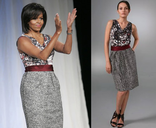 dc8c5562904 Get the Look  Michelle Obama s Rachel Roy Reid Sleeveless Dress ...