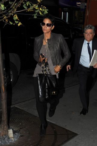 Halle Berry Coach Kristin Leather Tote in Black