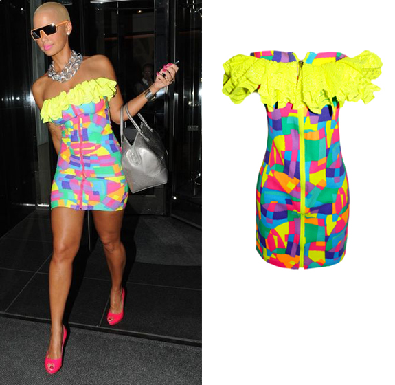 Amber Rose wore an electric Ruffle Top Neon Patchwork Dress by New York