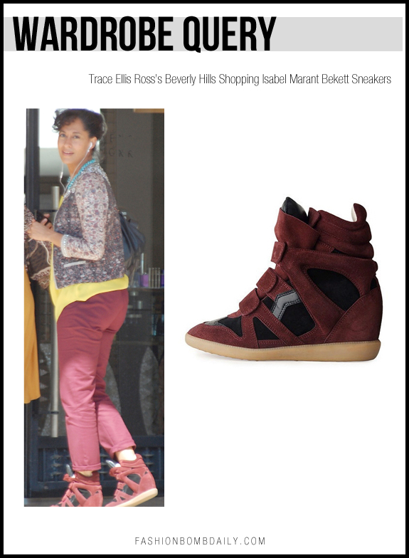 Wardrobe Query- Trace Ellis Ross's Beverly Hills Shopping Isabel Marant Bekett Sneakers