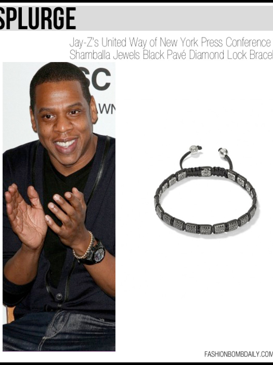 Jay-Z's United Way of New York Press Conference Shamballa Jewels Black Pavé Diamond Lock Bracelet splurge-121311