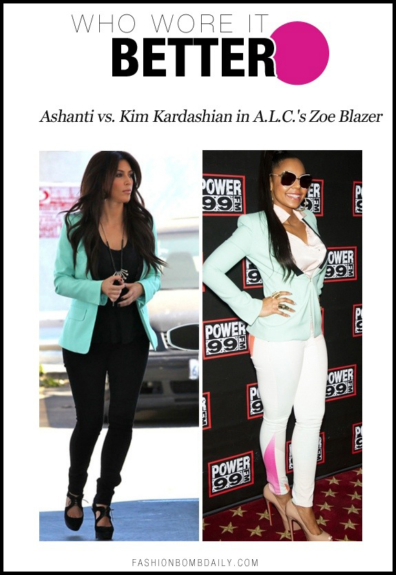 Who Wore It Better? Ashanti vs. Kim Kardashian in A.L.C.'s Mint Zoe Blazer