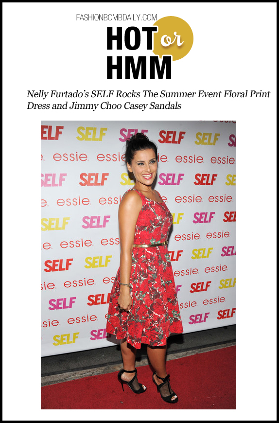 HOH-0726-Nelly Furtado's SELF Rocks The Summer Event Floral Print Dress and Jimmy Choo Casey Sandals