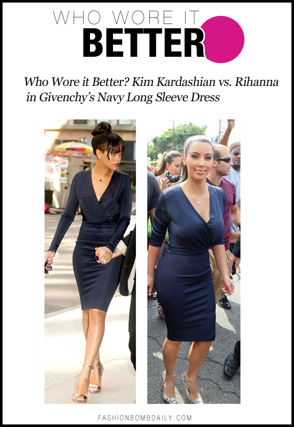 Who Wore It Better-0716-Who Wore it Better? Kim Kardashian vs. Rihanna in Givenchy's Navy Long Sleeve Dress