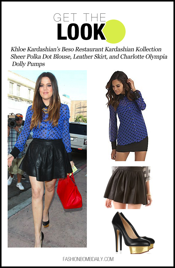 gtl-070512-Khloe Kardashian's Beso Restaurant Kardashian Kollection Sheer Polka Dot Blouse, Leather Skirt, and Charlotte Olympia Dolly Pumps