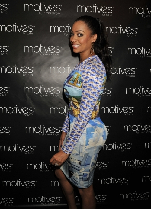 01 - Lala Anthony's Motives UK Launch Mary Katrantzou Printed Silk Jersey dress