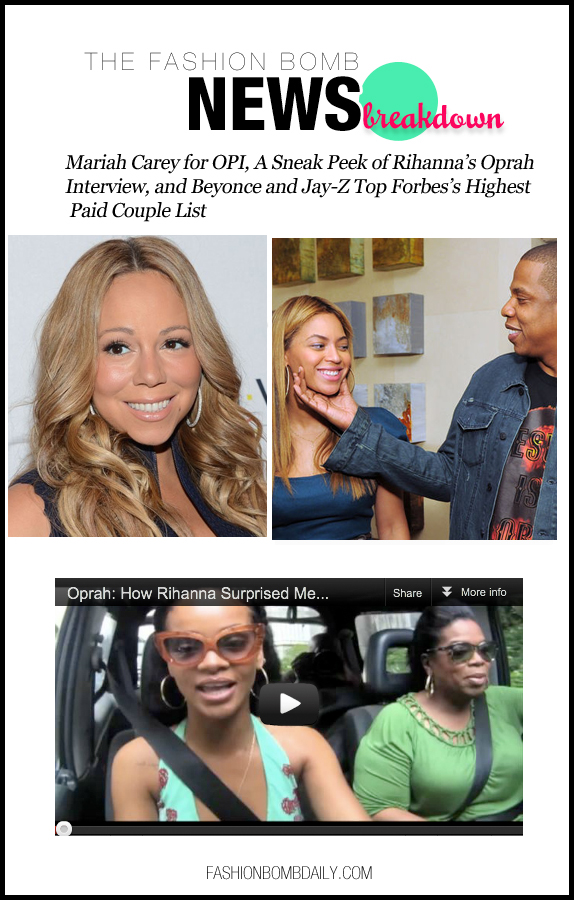 The Fashion Bomb News Break Down-0810-Mariah Carey for OPI, A Sneak Peek of Rihanna's Oprah Interview, and Beyonce and Jay-Z Top Forbes's Highest Paid Couple List