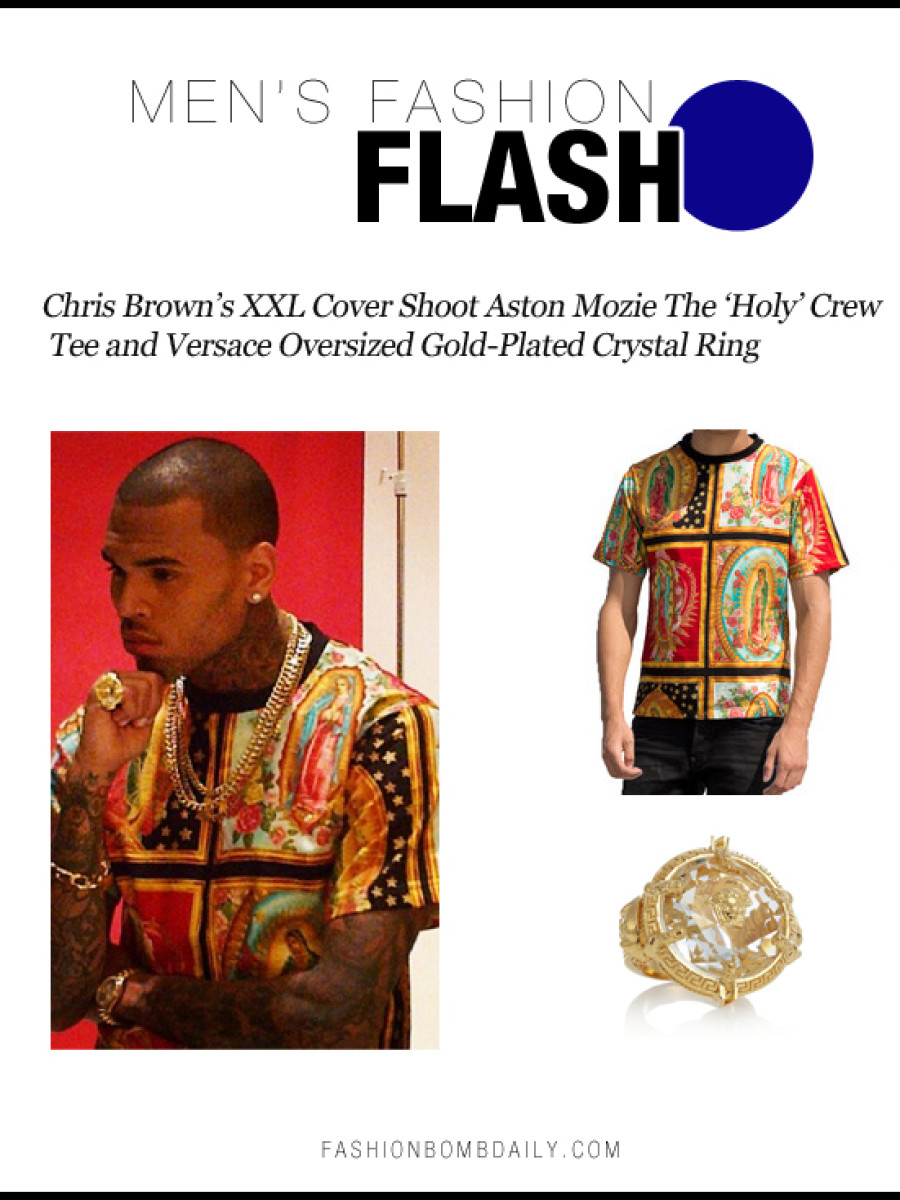 Men's Fashion Flash-103012-Chris Brown's XXL Cover Shoot Aston Mozie The 'Holy' Crew Tee and Versace Oversized Gold-Plated Crystal Ring