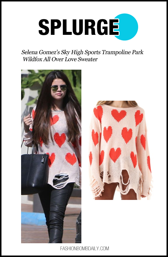 Splurge-100512-Selena Gomez's Sky High Sports Trampoline Park Wildfox All Over Love Sweater