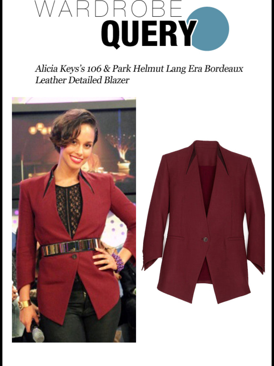 Wardrobe Query-102212-Alicia Keys's 106 & Park Helmut Lang Era Bordeaux Leather Detailed Blazer