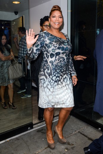 queen-latifah-good-morning-america-kay-unger-new-york-animal-print-dress