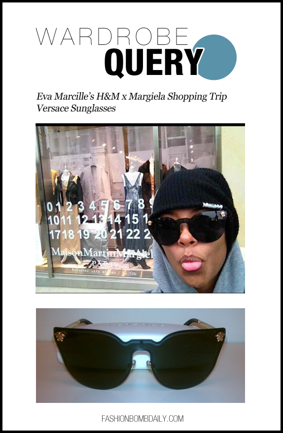 Wardrobe Query-111512-Eva Marcille's H&M x Margiela Shopping Trip Versace Sunglasses