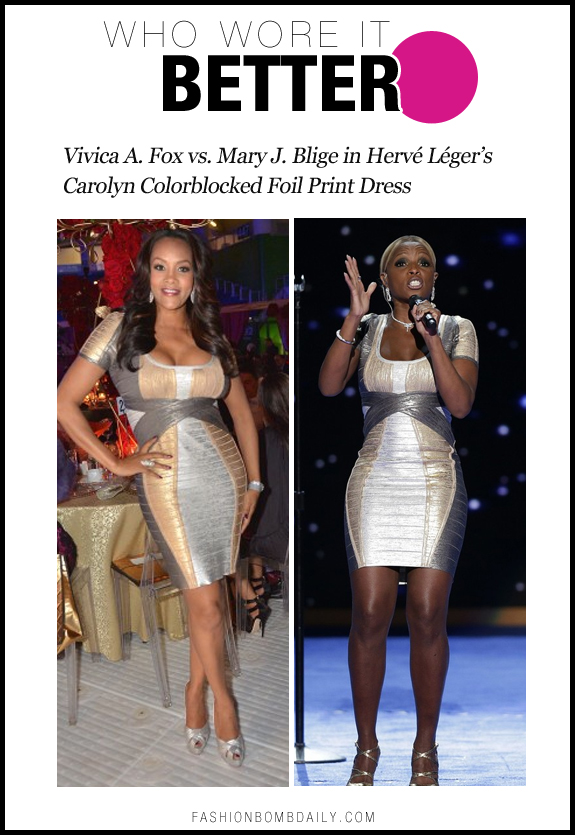 Who Wore It Better-1119-Vivica A. Fox vs. Mary J. Blige in Hervé Léger's Carolyn Colorblocked Foil Print Dress
