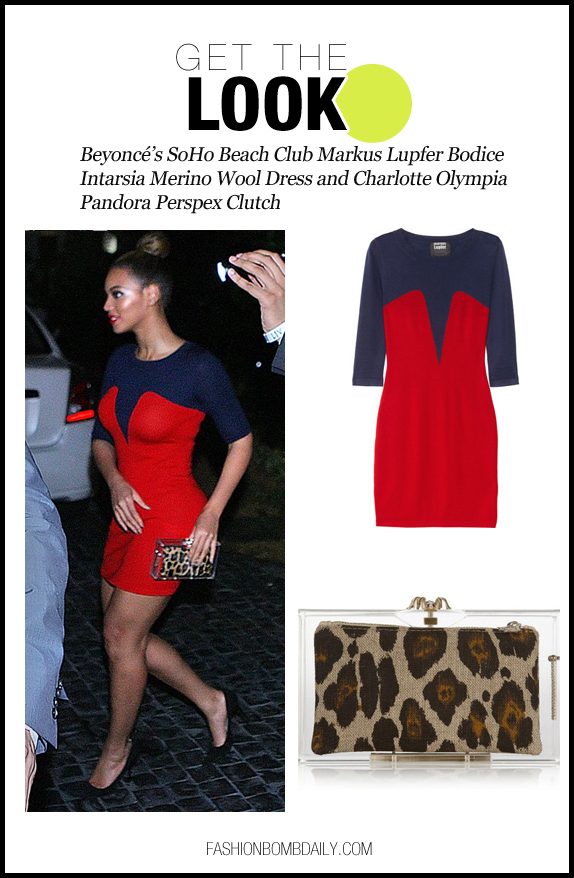 Get The Look-121012-Beyoncé's SoHo Beach Club Markus Lupfer Bodice Intarsia Merino Wool Dress and Charlotte Olympia Pandora Perspex Clutch