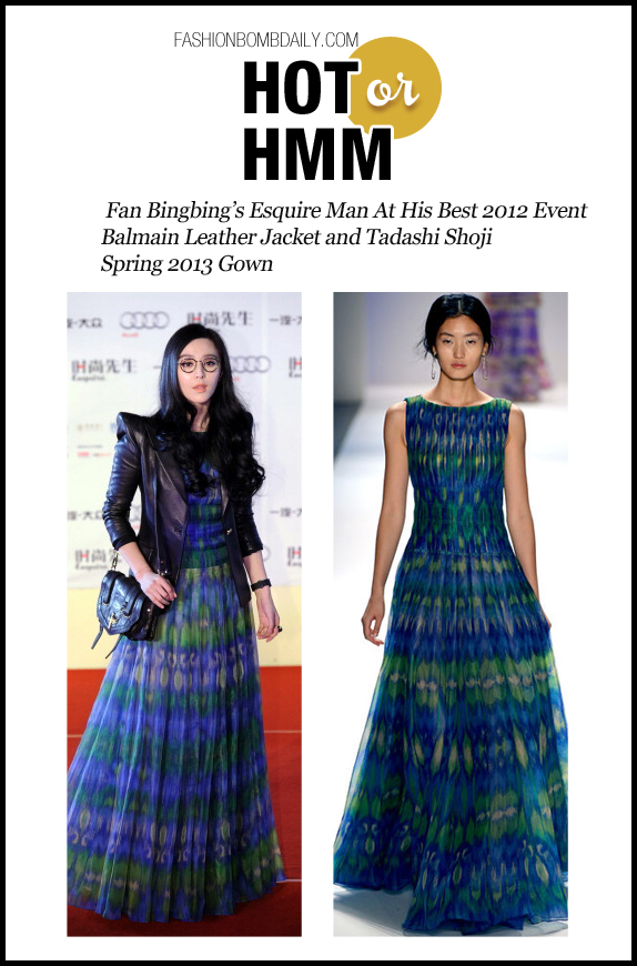 Hot Or Hmm-120612- Fan Bingbing's Esquire Man At His Best 2012 Event Balmain Leather Jacket and Tadashi Shoji Spring 2013 Gown