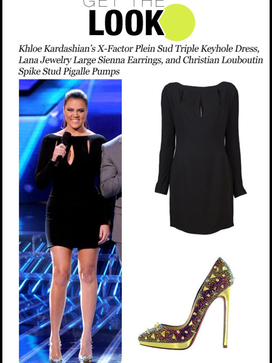 gtl-121412-Khloe Kardashian's X-Factor Plein Sud Triple Keyhole Dress, Lana Jewelry Large Sienna Earrings, and Christian Louboutin Spike Stud Pigalle Pumps