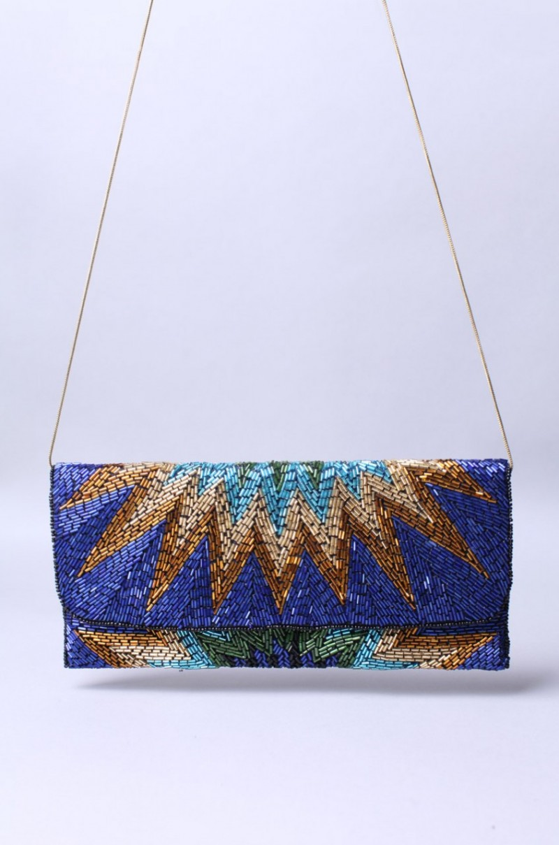 Parvati Sunburst Clutch in Cobalt, $45