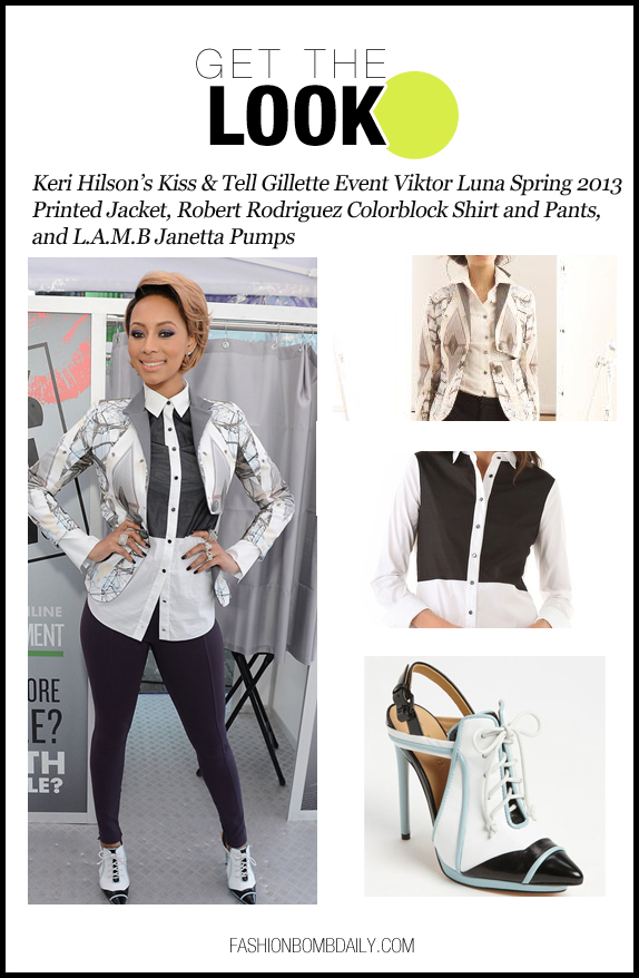 get the look-0117-Keri Hilson's Kiss & Tell Gillette Event Viktor Luna Spring 2013 Printed Jacket, Robert Rodriguez Colorblock Shirt and Pants, and L.A.M.B Janetta Pumps