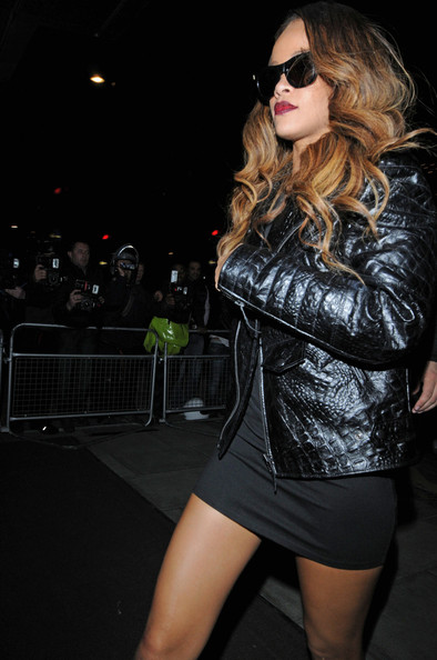 0  Rihanna's London Rihanna for River Island Black Dress and Trapstar Croc Embossed Motorcycle Jacket
