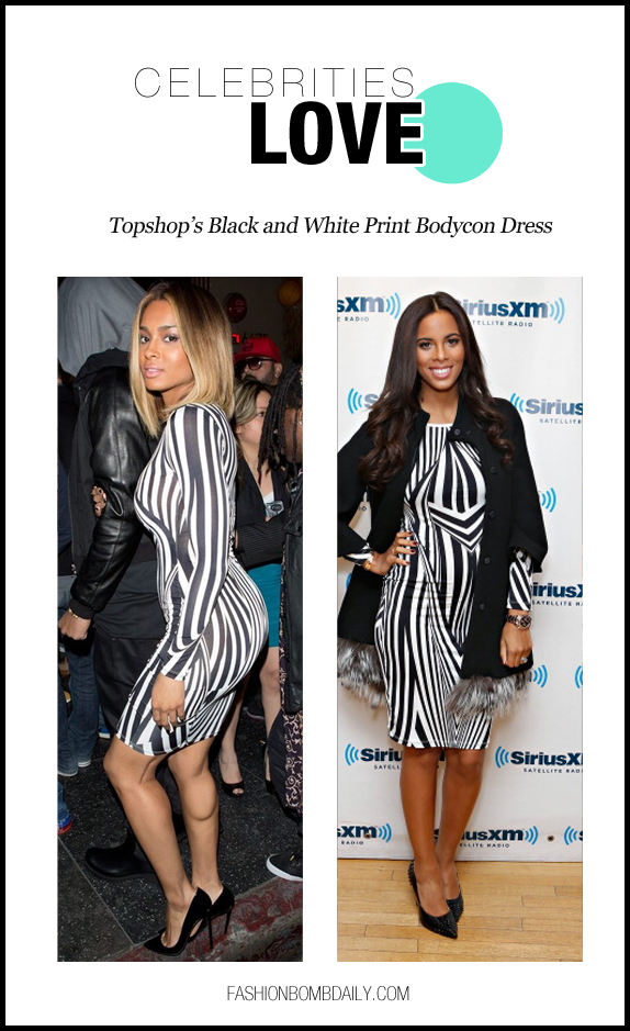 Celebrities Love-0212-Topshop's Black and White Print Bodycon Dress