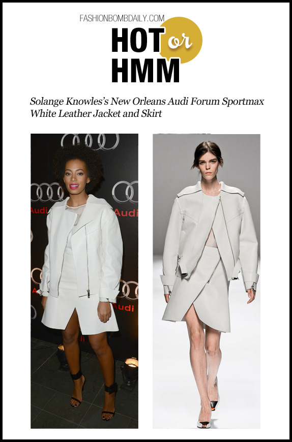 Hot Or Hmm-020413- Solange Knowles's New Orleans Audi Forum Sportmax White Leather Jacket and Skirt