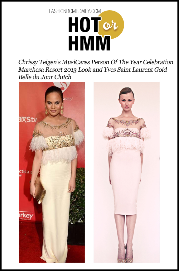 Hot Or Hmm-020913- Chrissy Teigen's MusiCares Person Of The Year Celebration Marchesa Resort 2013 Look and Yves Saint Laurent Gold Belle du Jour Clutch