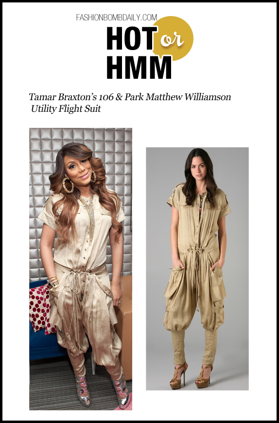 Hot Or Hmm-021413-Tamar Braxton's 106 & Park Matthew Williamson Utility Flight Suit