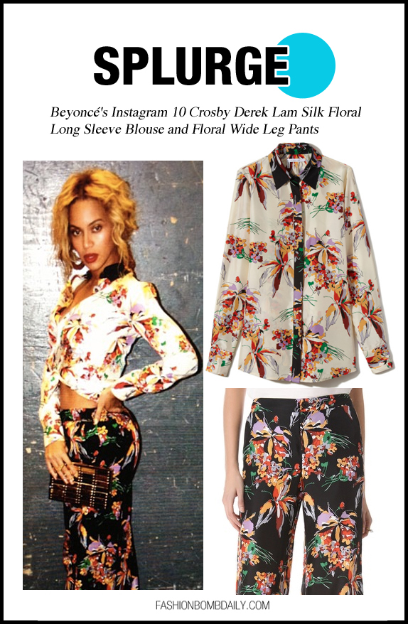 _0-Beyone-Instagram-10-C Beyonce Instagram 10 Crosby Derek Lam Silk Floral Long Sleeve Blouse and Floral Wide Leg Pants