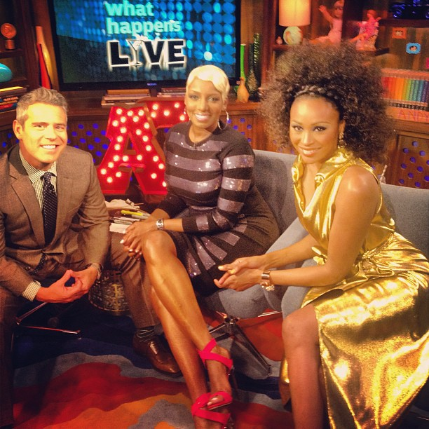 0  Nene Leakes's Watch What Happens Live Marc Jacobs Striped Sequin Sweater and Skirt, and Giuseppe Zanotti Red Suede Sandals