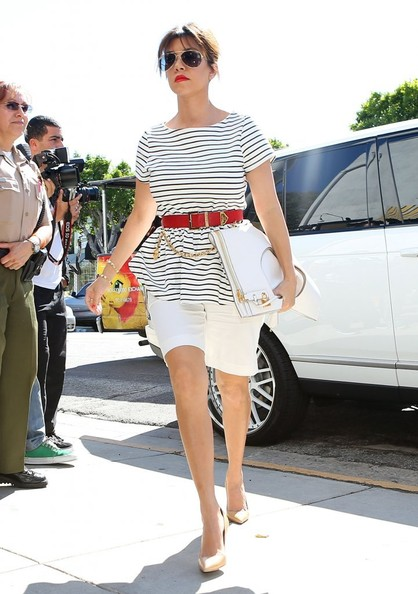 Get-the-Look-Kourtney-Kardashians-Bel-Bambini-Striped-Peplum-Top-White-Bermuda-Shorts-And-Tom-Ford-Foldover-Bag