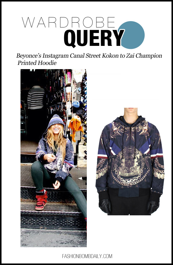 Wardrobe Query-032113-Beyonce's Instagram Canal Street Kokon to Zai Champion Printed Hoodie