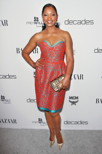 garcelle-beauvais-dukes-of-melrose-launch-party-west-hollywood-oscar-de-la-renta-vintage-orange-lace-and-teal-dress-gold-mcm-clutch-chanel-drop-earrings-2