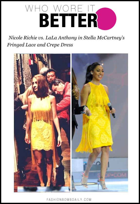 Nicole Richie vs. LaLa Anthony in Stella McCartney's Fringed Lace and Crepe Dress