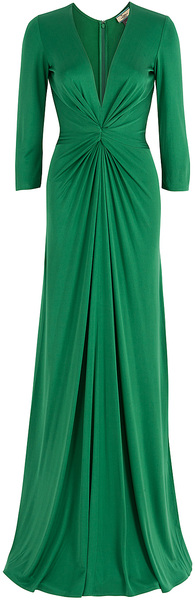 issa-green-plunging-v-neck-silk-jersey-gown