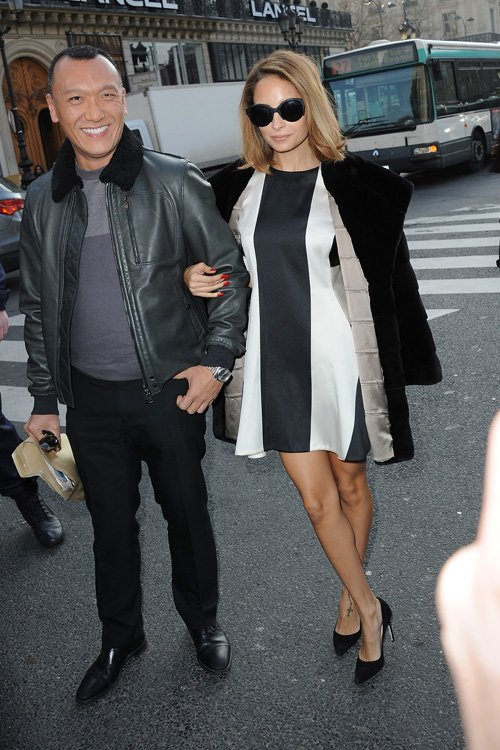 nicole-richie-joe-zee-stella-mccartney-fall-2013-fashion-show-paris-fashion-week-stella-mccartney-pre-fall-2013-two-tone-dress