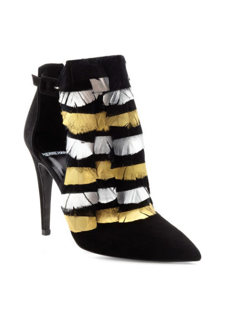 pierre-hardy-fall-2013-black-and-gold-bootie-with-feather-detailing