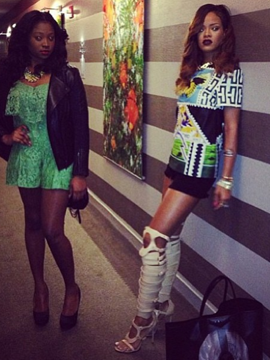 Hot-or-Hmm-Rihannas-Instagram-Mary-Katrantzou-T-shirt-and-Tom-Ford-Spring-2013-White-sandals