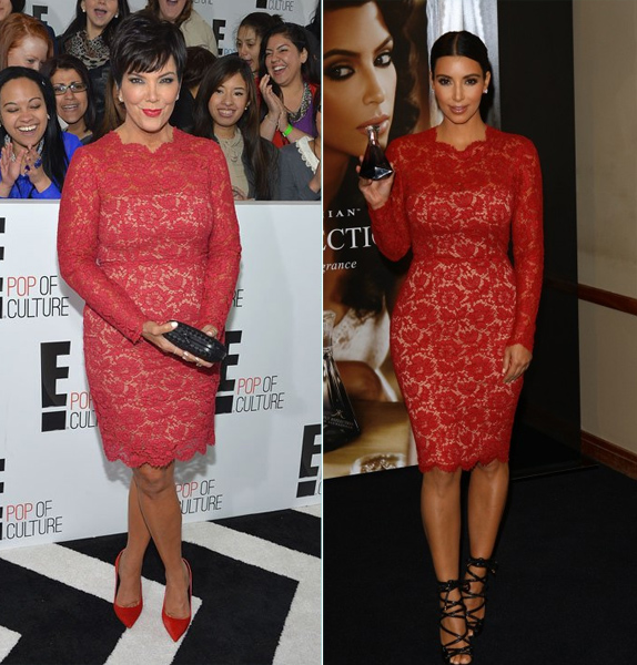 Kris Jenner vs. Kim Kardashian in Valentino's Red Long Sleeve Lace Dress