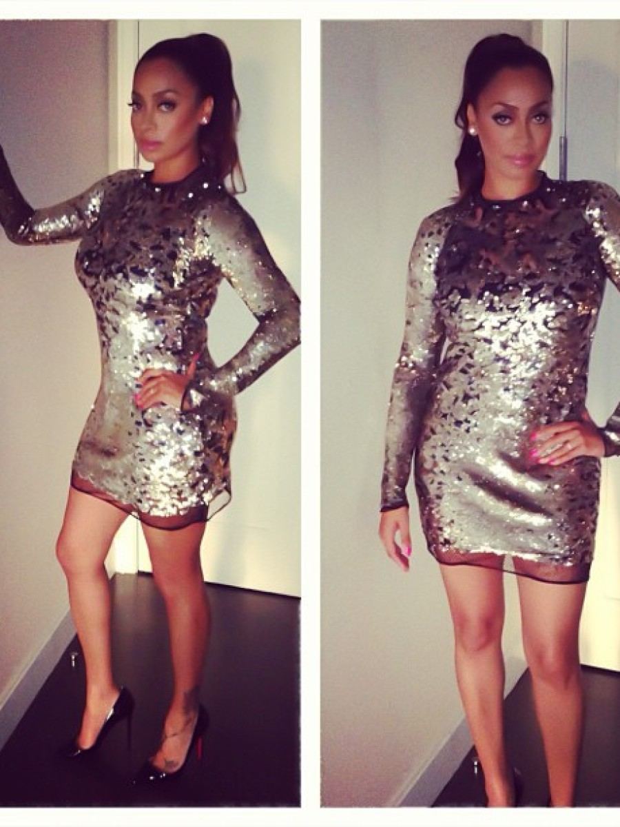 Lala Anthony's 'Gig It' Facebook Event Tom Ford Gold Sequined Mini Dress