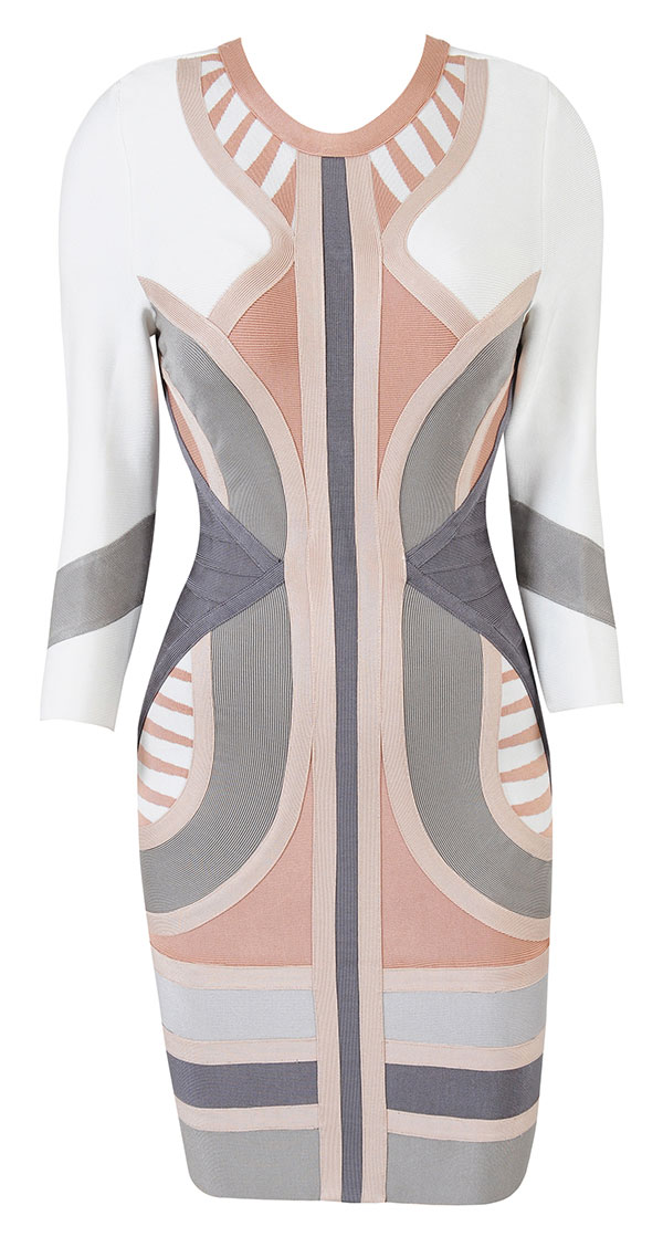 Lala Anthony's Ice Cream Stop Celeb Boutique Laurent Nude, Grey, and White Geometric Bodycon Dress