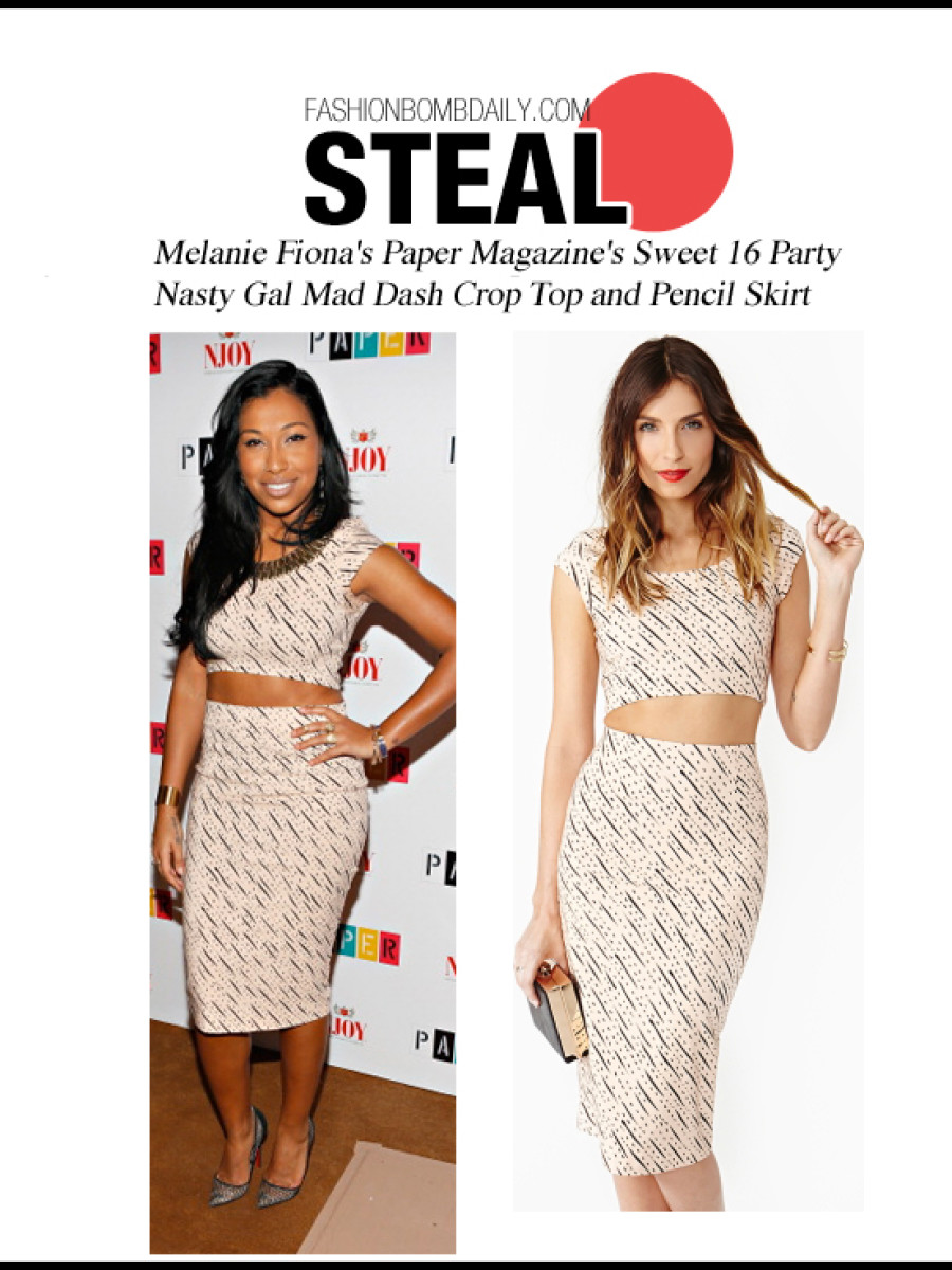 Melanie-Fiona's-Paper-Magazine's-Sweet-16-Party-Nasty-Gal-Mad-Dash-Crop-Top-and-Pencil-Skirt