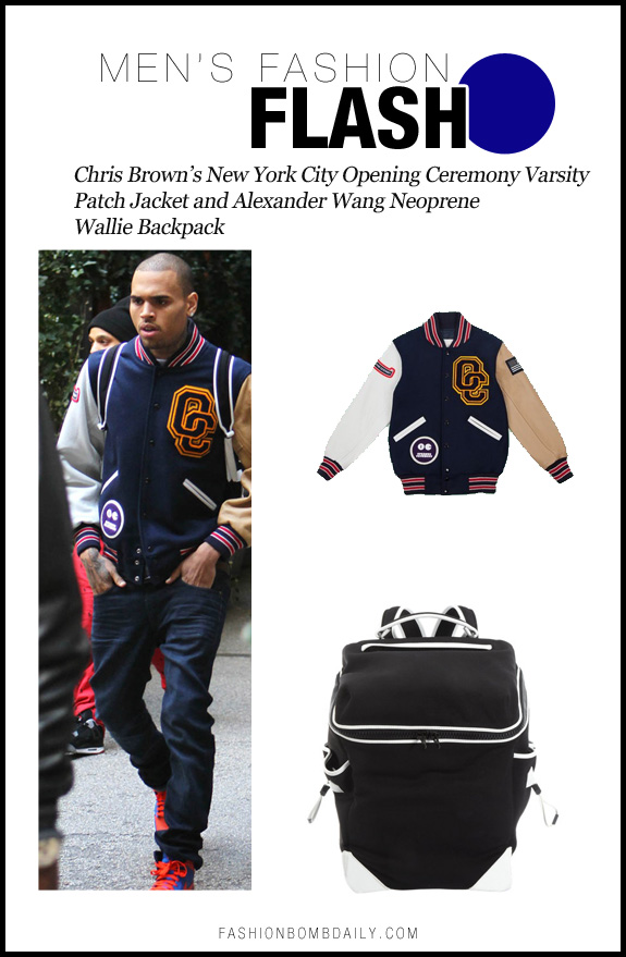 Men's Fashion Flash-0403-Chris Brown's New York City Opening Ceremony Varsity Patch Jacket and Alexander Wang Neoprene Wallie Backpack