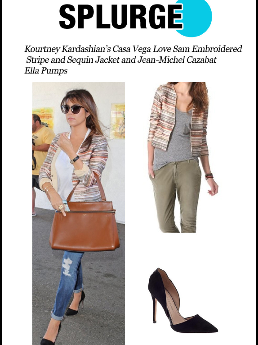 splurge-0405-Kourtney Kardashian's Casa Vega Love Sam Embroidered Stripe and Sequin Jacket and Jean-Michel Cazabat Ella Pumps
