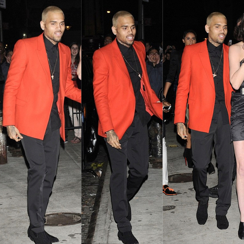 0 Chris Brown's Met Gala After Party Custom Givenchy Red Blazer, Black Shirt, and Pants1