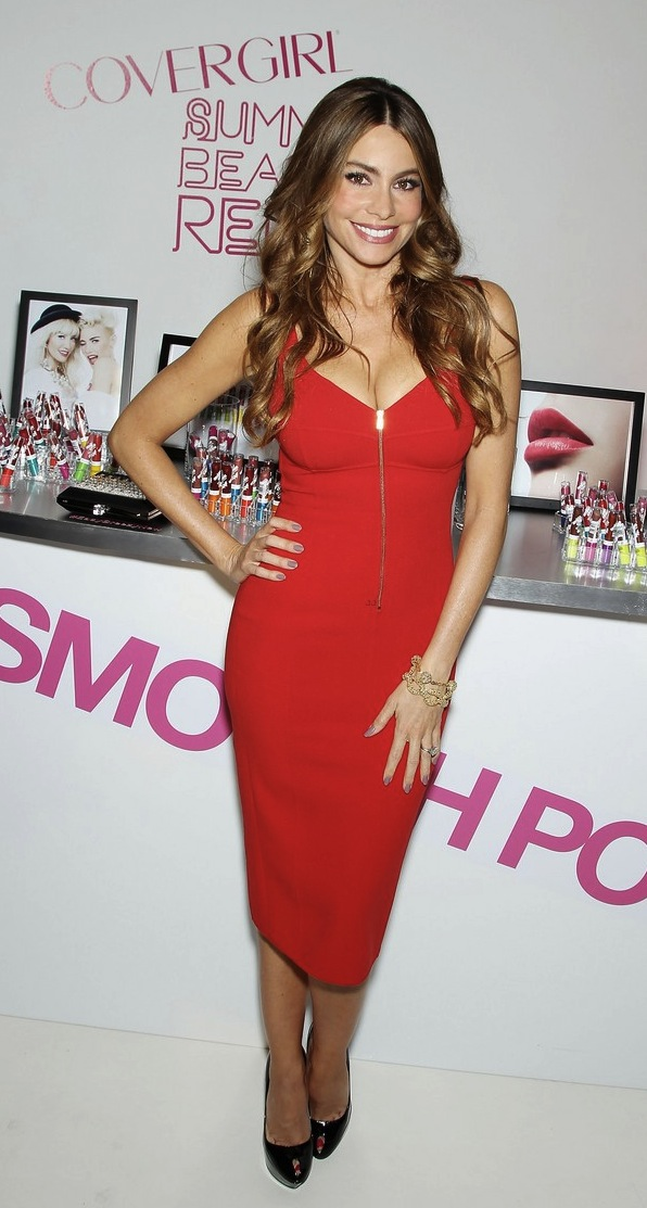 0 Sofia Vergara's Covergirl Summer Launch Party Michael Kors Pre-Fall 2013 Crimson Red Zip Front Dress