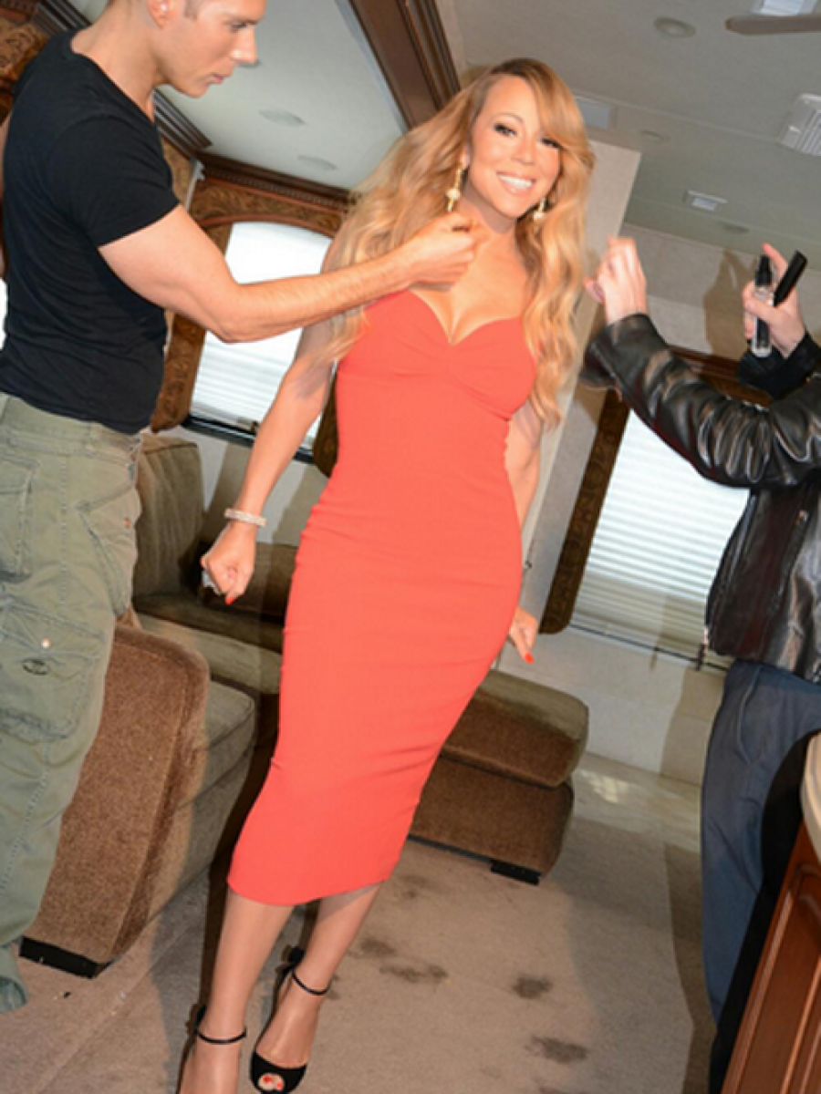 Get-the-Look-Mariah-Careys-Twitter-American-Idol-LWren-Scott-Red-Sleeveless-Dress