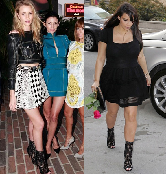 Rosie Huntington-Whiteley vs. Kim Kardashian in Balmain's Guipure Lace Open Toe Booties
