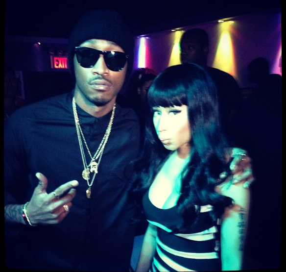 4 Nicki Minaj's Perfections Hervé Leger Graphic Black and White Bandage Dress and Nike Air Fusions