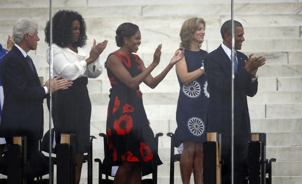 0 First Lady Michelle Obama's  March on Washington 50th Anniversary Tracy Reese Embellished Flared Frock