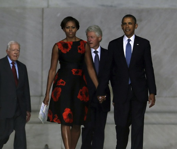 3  First Lady Michelle Obama's  March on Washington 50th Anniversary Tracy Reese Embellished Flared Frock